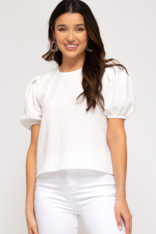 She & Sky: White Short Puff Sleeve
