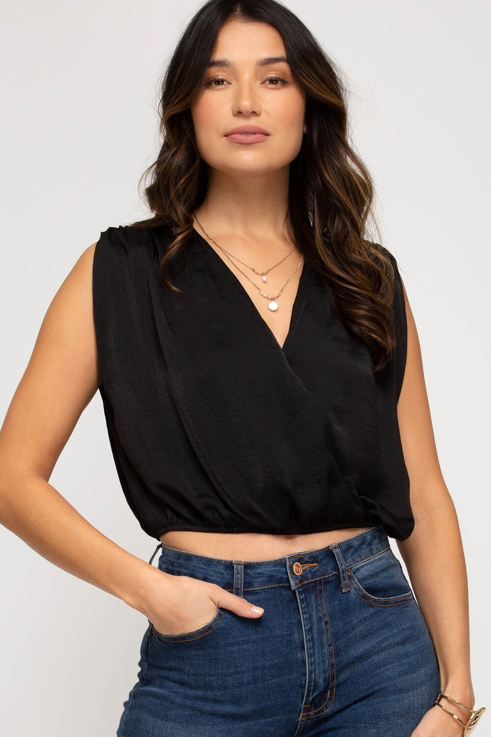 She & Sky: Black Padded Shoulder Top