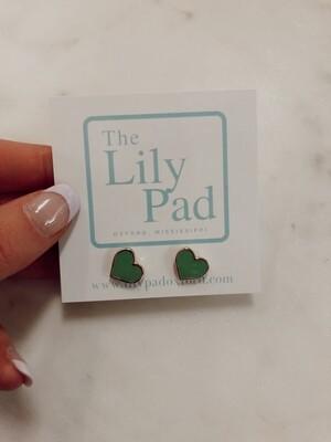 Heart Earring: Green