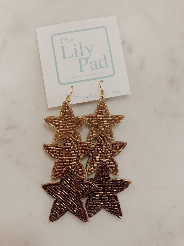 beaded 3 star earring