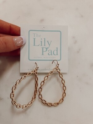 chain dangle oval earring