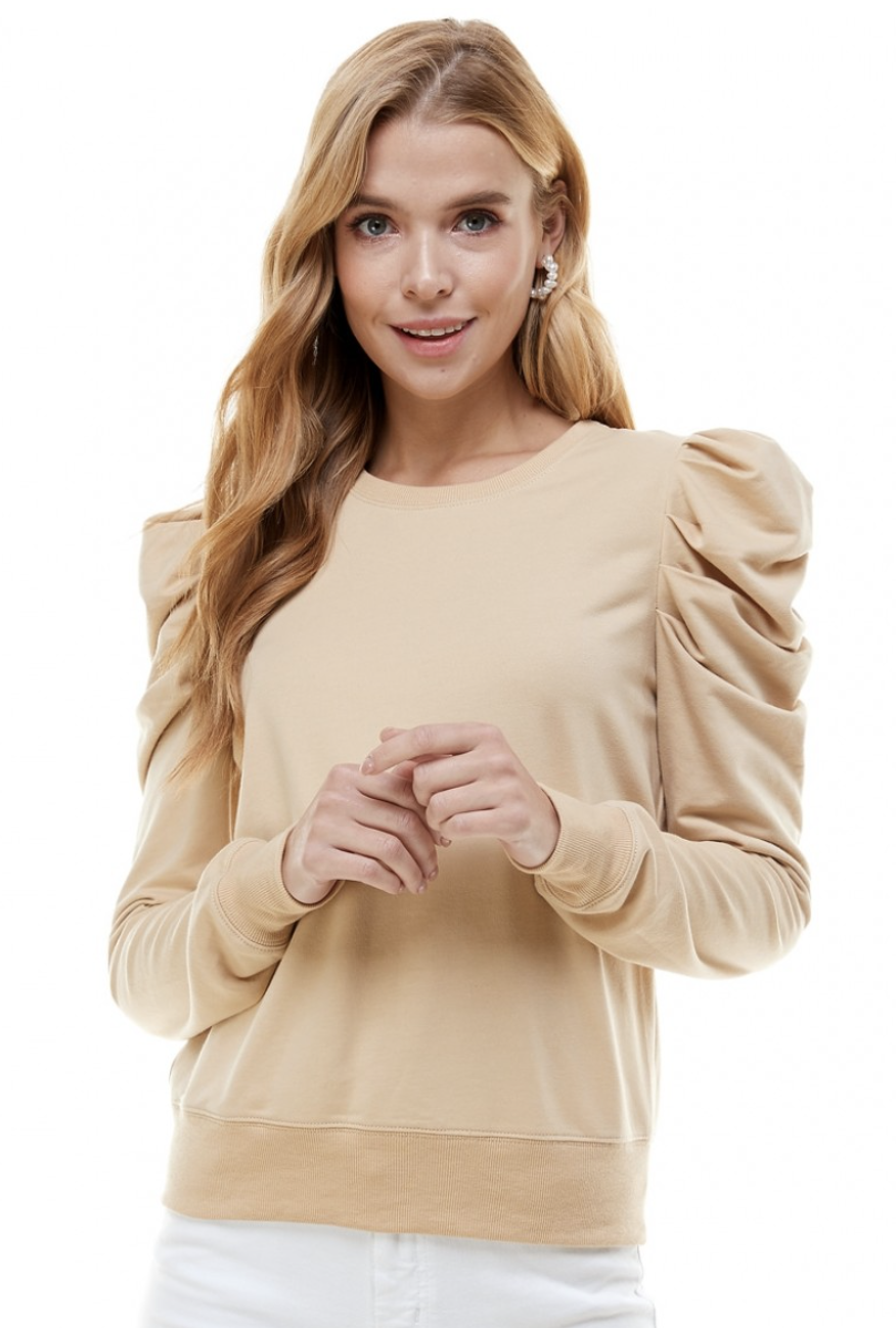 TCEC: Ribbed Crew Neck Puff Sleeve