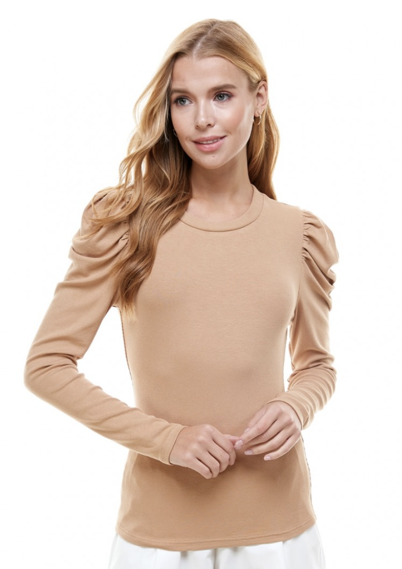 TCEC: LS Puff Shoulder Knitted Top