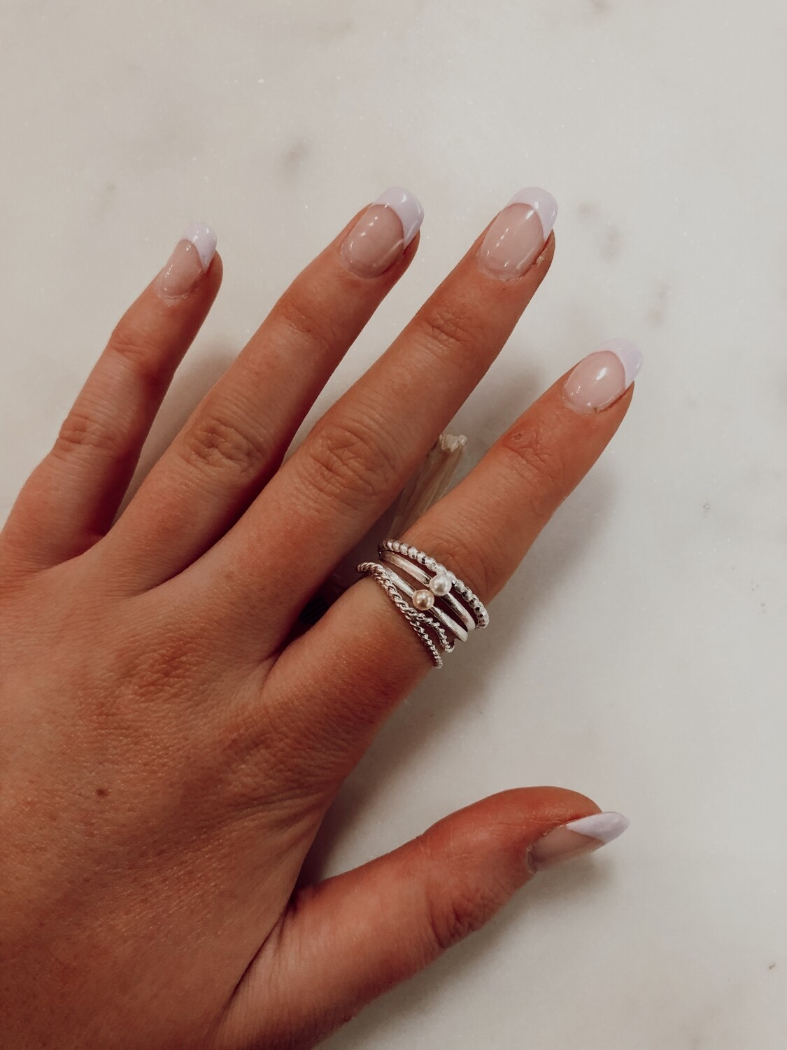 Pearl ring set-silver