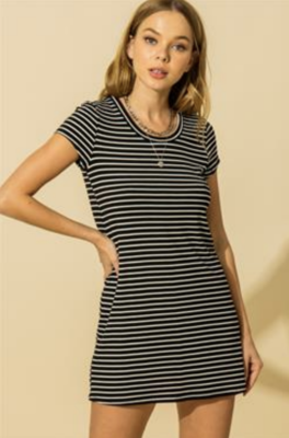 HYFVE: Black Striped Knit Dress