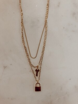 Lock and Key Layered Necklace: Gold