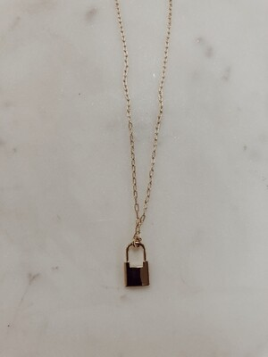 Lock Necklace: Gold