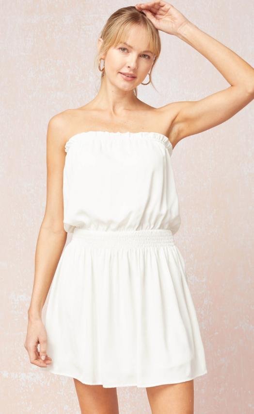 Entro: D16336 White Strapless Dress