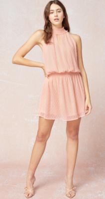 Entro: Dotted Keyhole Halter Dress