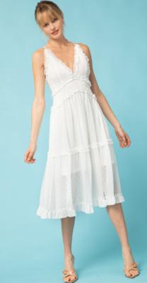 Entro: Dotted V-Neck Dress