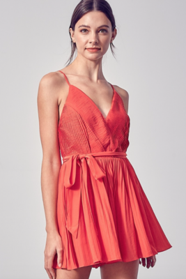 DO+BE: Pleated Cross Back Romper Red
