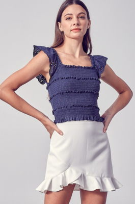 DO+BE: Embroidery Detail Top Navy