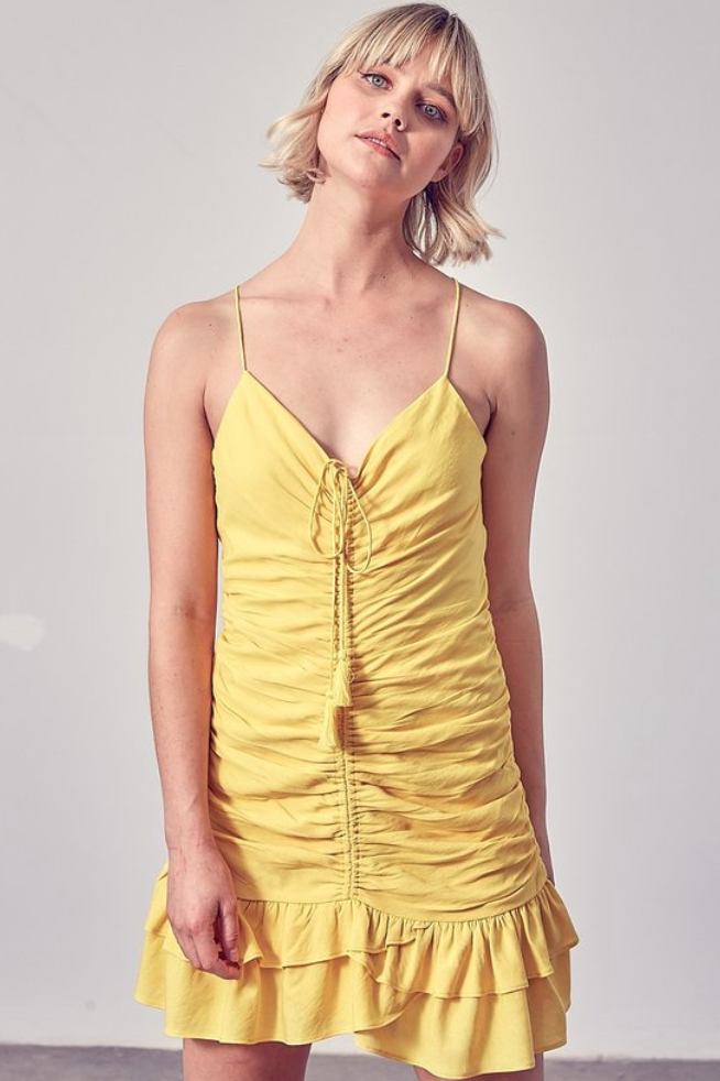 DO+BE: Ruched Ruffle Dress