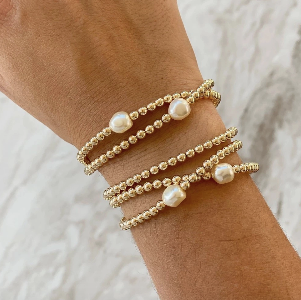 18k Plated Pearl Bead Bracelet