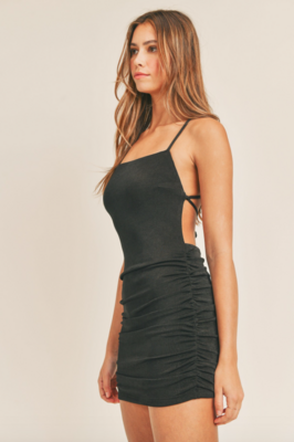Mable: Black Ruched Bodycon Dress