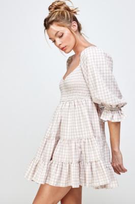 Mable: Gingham Print Ruffle Dress