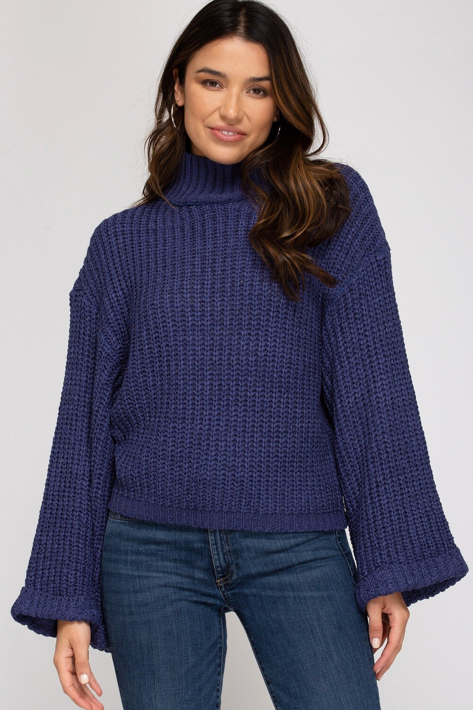 She & Sky: Wide Sleeve Mock Neck Sweater
