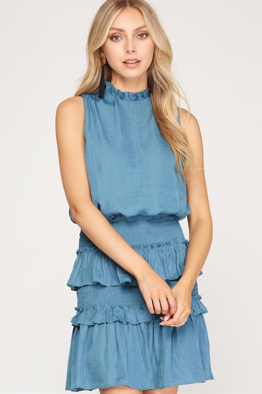 She & Sky: Sleeveless Smocked Dress with Ruffles