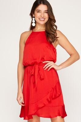 She & Sky: Sleeveless Satin Dress with Ruffled Hem