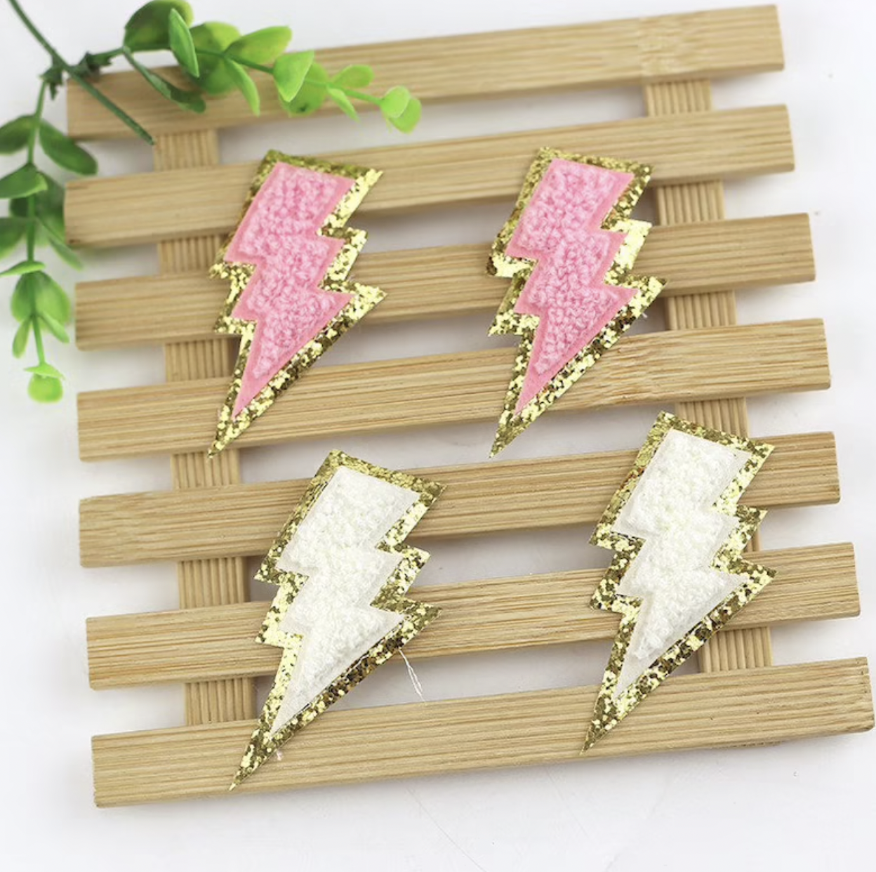 Chenille Lightning Bolt Patches