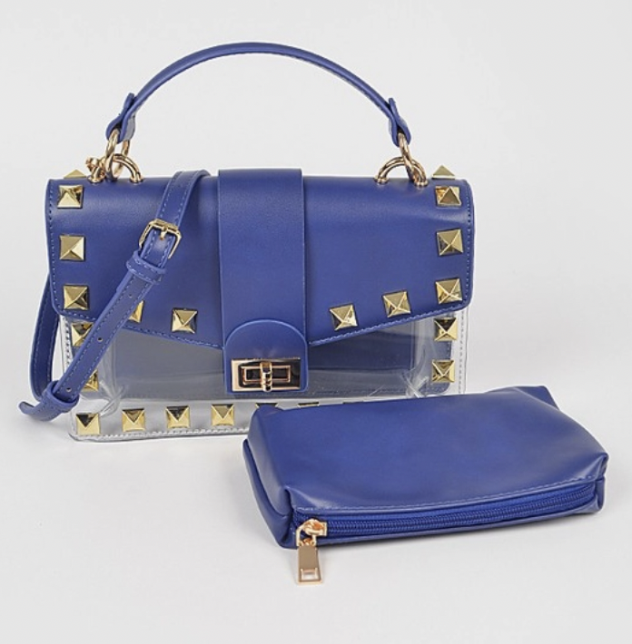 La Plaza: Solid Studded Clear Purse