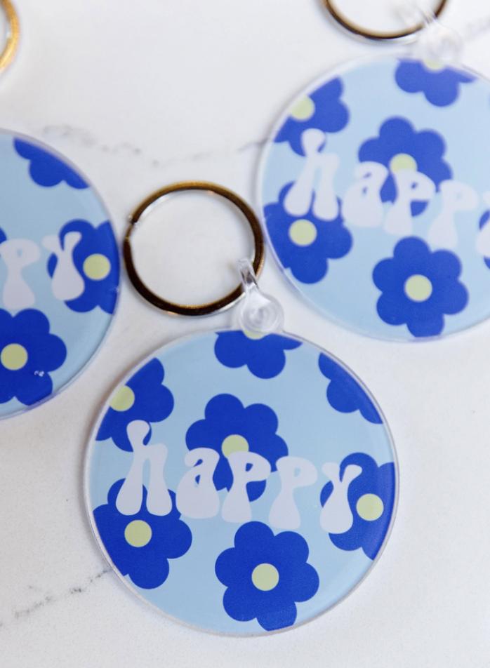 Blush and Bubbly: Happy Keychain