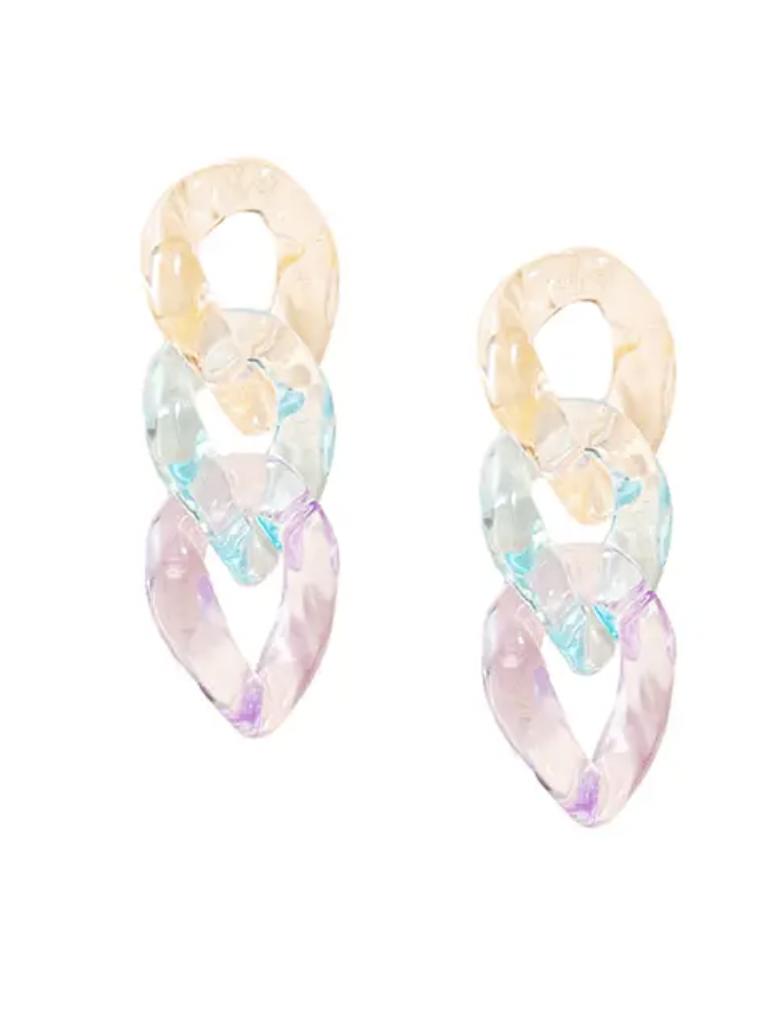 Triple Rainbow Link Earrings