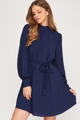 She+Sky: Long Sleeved Mock Neck Woven Dress