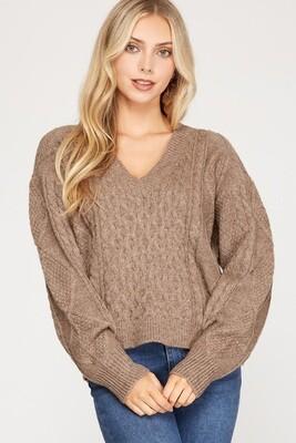 She+Sky: V-Neck Cable Knit Sweater