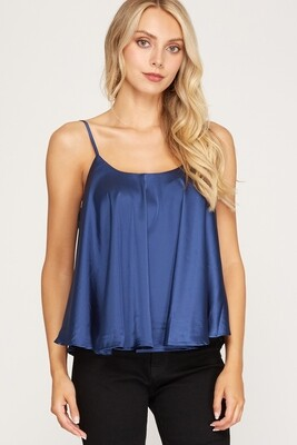 She+Sky: Rounded Sweep Satin Cami Top