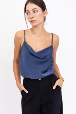 Lelis: Dark Blue Cowl Neck Bodysuit