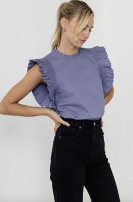 August Apparel: Ruffle Sleeve Poplin Top