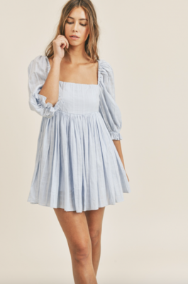 Mable: MD2214A Puff Sleeve Babydoll Dress