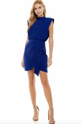 TCEC: Padded Shoulder Slit Detail Dress