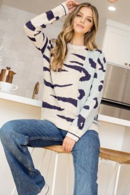 Thml: Mixed Animal Print Knit Sweater