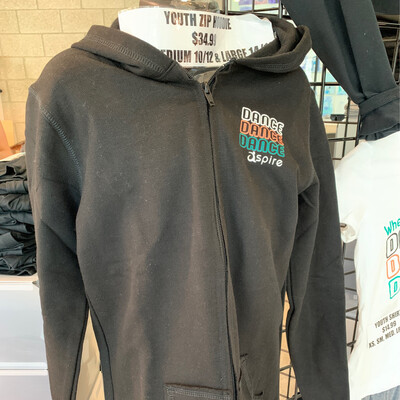 Youth Black Zip Hoodie By Boxercraft