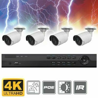 Complete 4 Channel 4K Ultra HD (8MP) Bullet IP Surveillance System