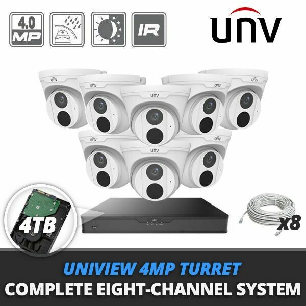Complete Eight-Channel Uniview 4MP IP Turret Video Surveillance System