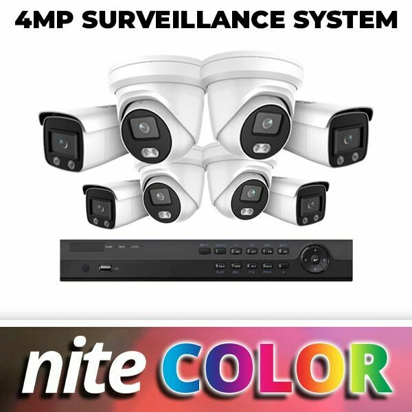 NiteColor 4MP Eight Camera Complete System: Everything You Need for Incredible 24/7 Color Video Surveillance