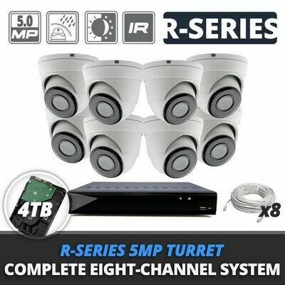 Complete Eight-Channel R-Series 5MP IP Turret Video Surveillance System