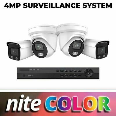 NiteColor 4MP Four Camera Complete System: Everything You Need for Incredible 24/7 Color Video Surveillance