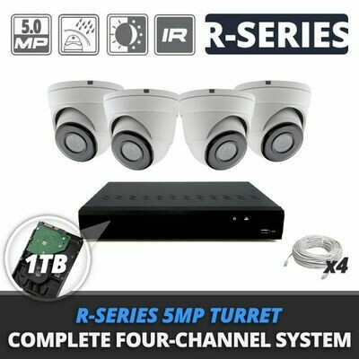 Complete Four-Channel R-Series 5MP IP Turret Video Surveillance System