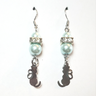 Blue Pearl Cat Earrings