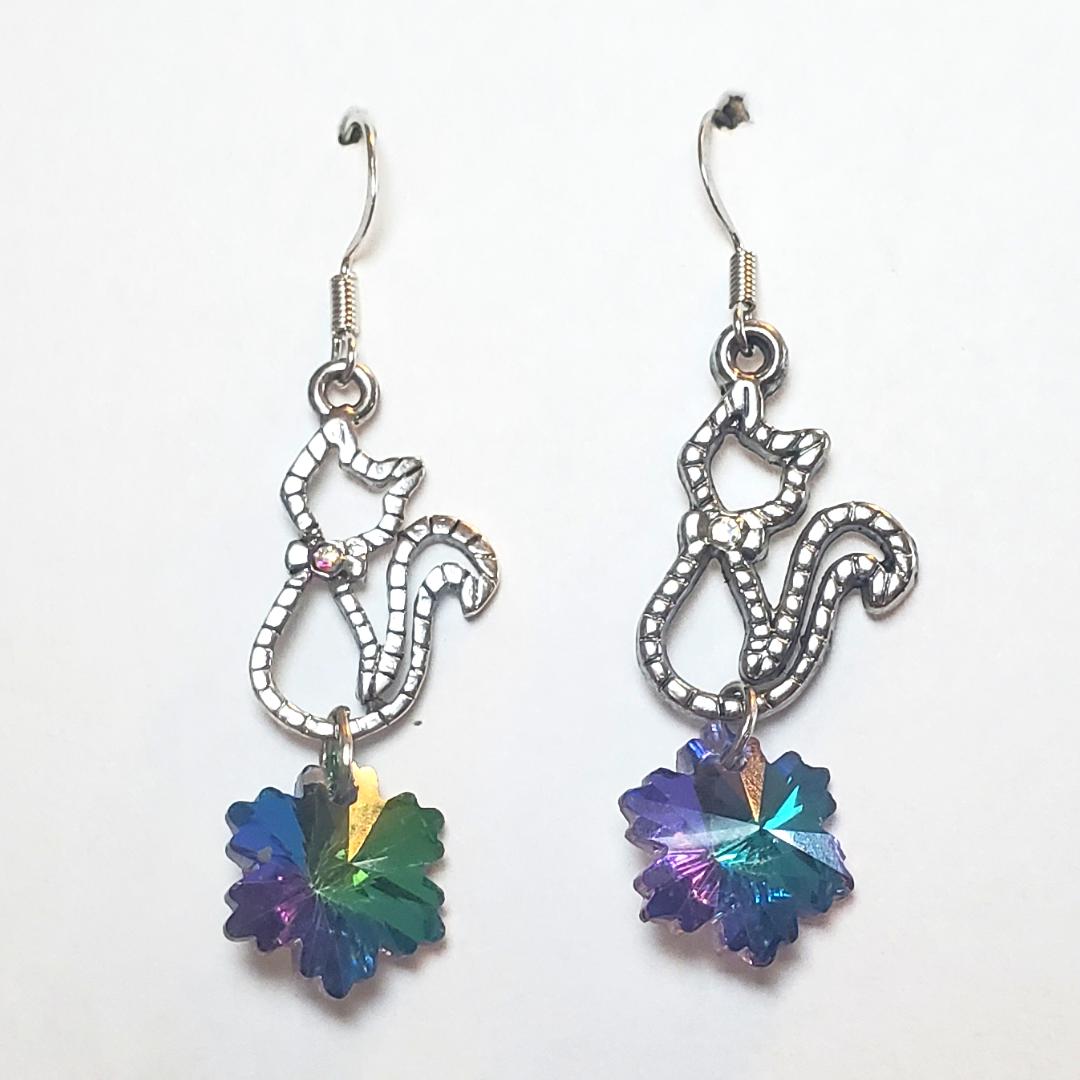 Floral Drop Cat Earrings