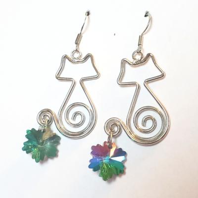 Floral Swirl Cat Earrings