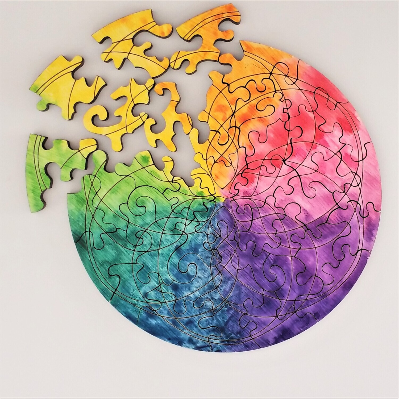 Rainbow Mandala Wooden Puzzle