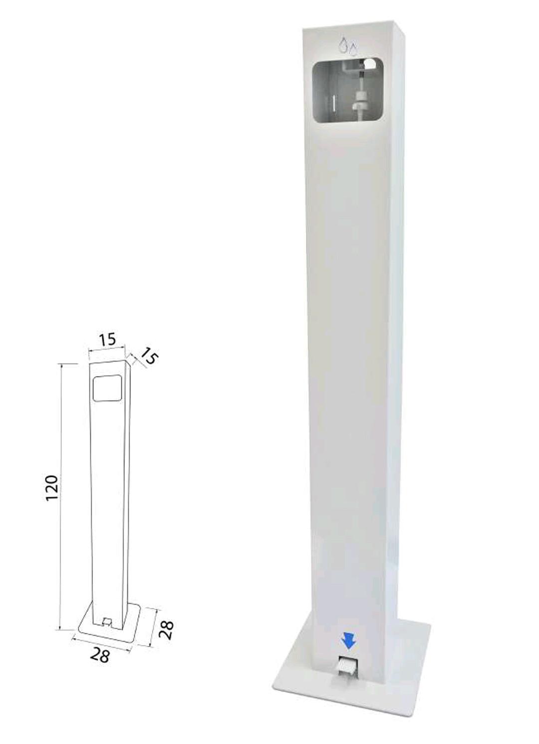 Dispensador de gel a pedal autoportante. Medidas: 120 x 28 x 28 cm. Columna 15 x 15 cm.