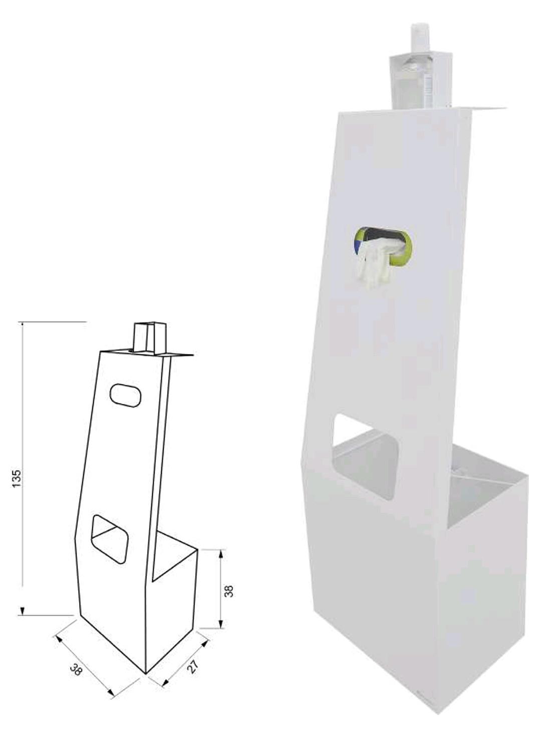 Dispensador de gel, guantes y papelera. Medidas: 135 x 38 x 27cm.