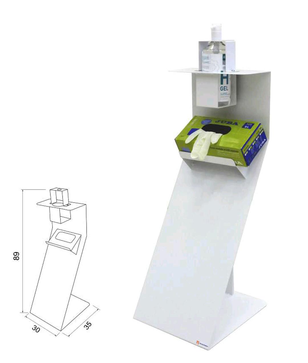 Dispensador de gel / guantes. Medidas: 89 x 30 x 35cm. Material: Metal 100%  reciclable.