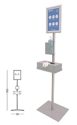 Soporte info de aluminio con base metálica y portapóster Din-A4. Medidas: 30 x 40 x 150 cm de alto.
